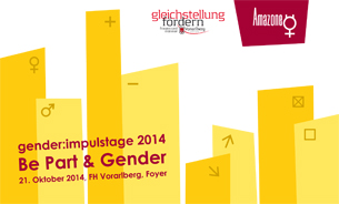 Gelbgestreiftes Deckblatt Folder gender:impulstage 2014